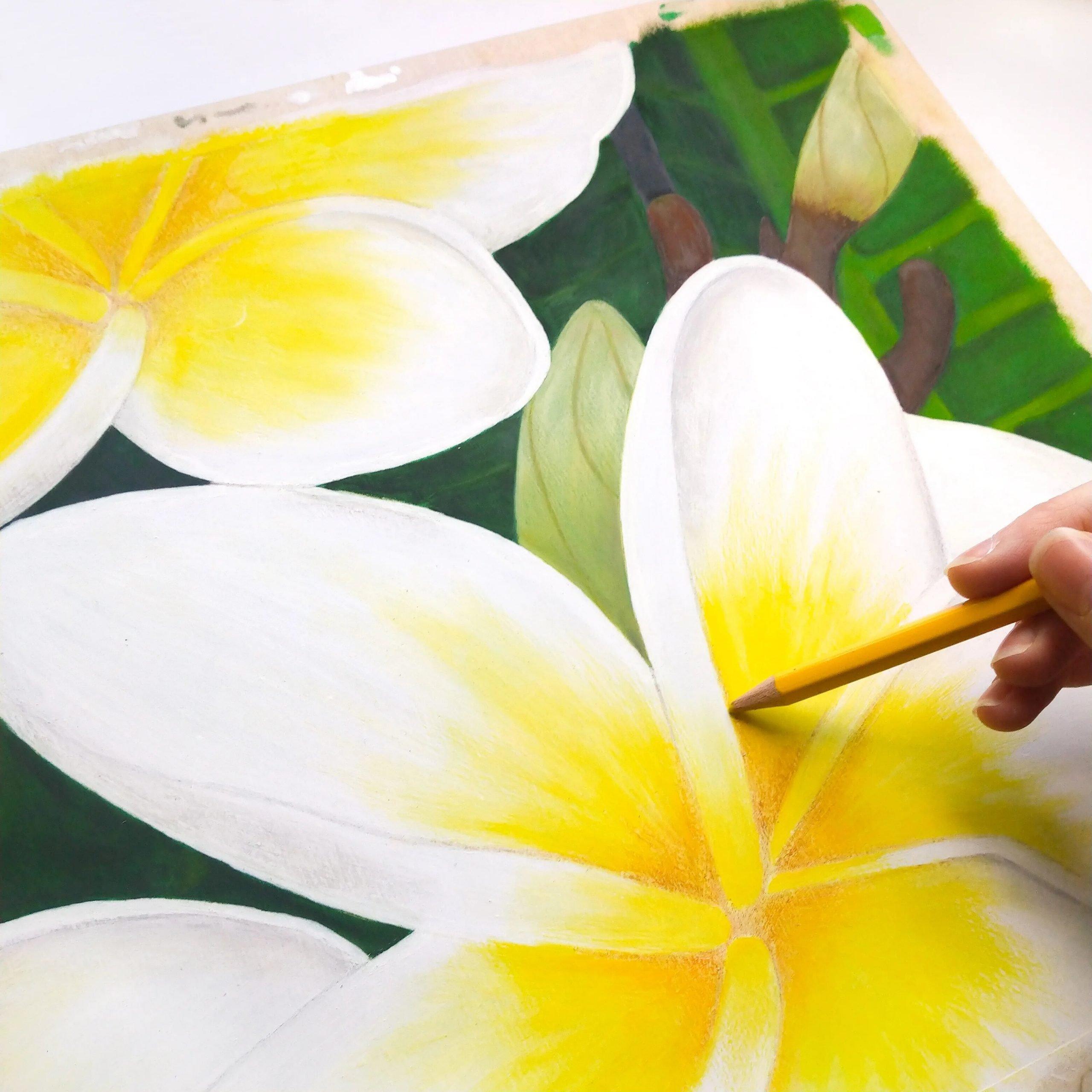 Peinture et dessin de fleurs exotiques de plumeria sur bois, acrylique et pastels, par l'artiste Aline Belliard.